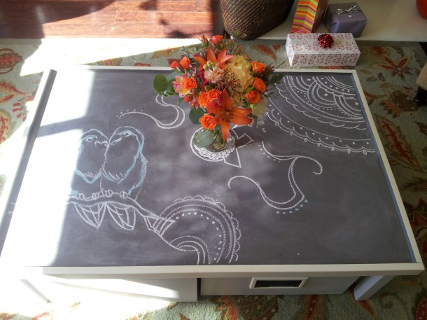 chalkboard table lovebirds