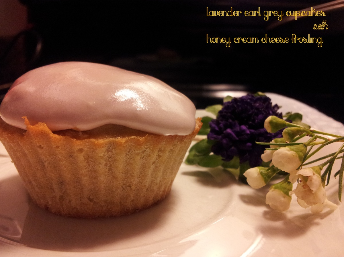 Lavender Earl Grey Cupcakes with Honey Cream Cheese Frosting