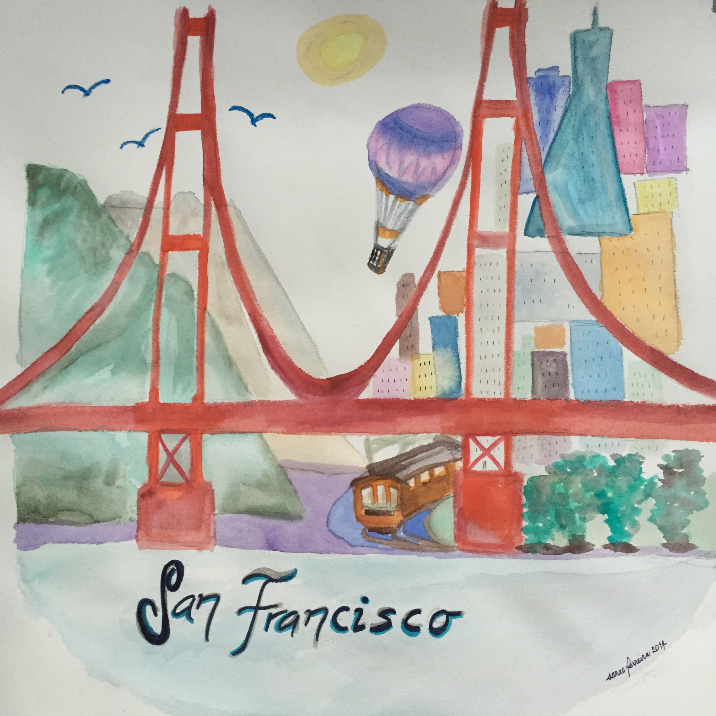Colorful San Francisco Watercolor