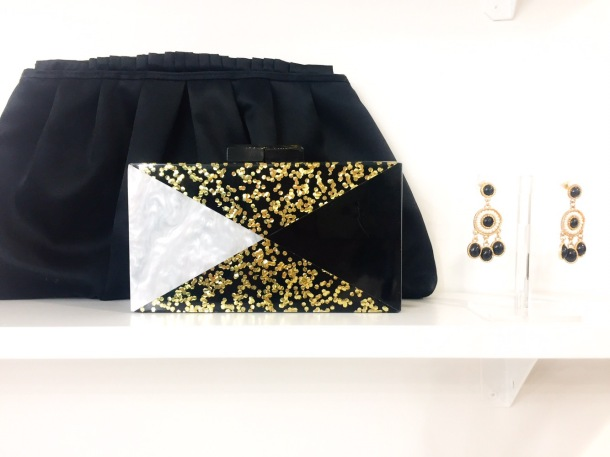 Pretty formal accessories at Rent Best Dressed - clutch and earrings